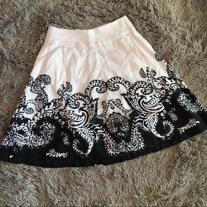 White House Black market a line silk blend skirt